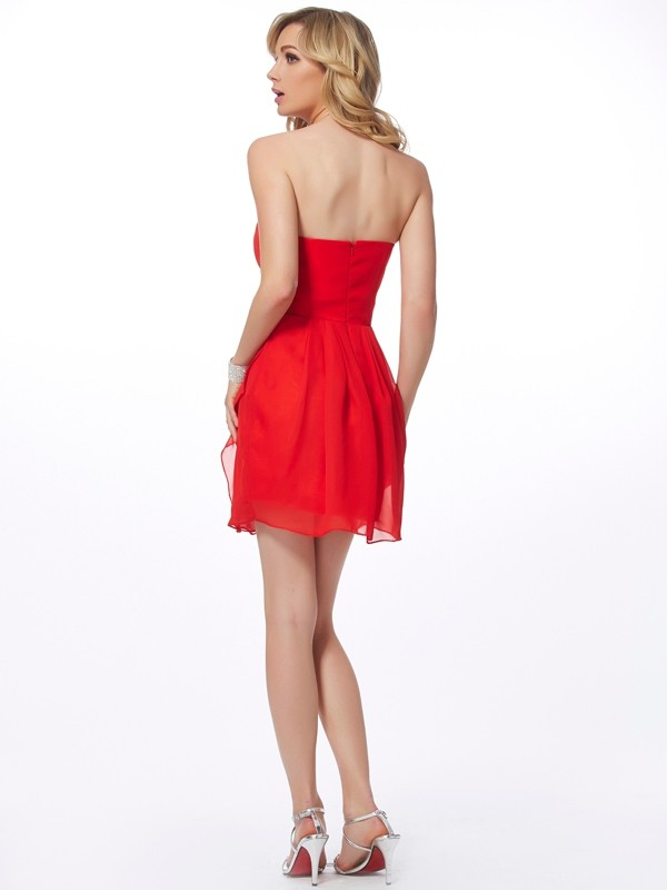 Sheath/Column Sweetheart Short Chiffon Cocktail Dress