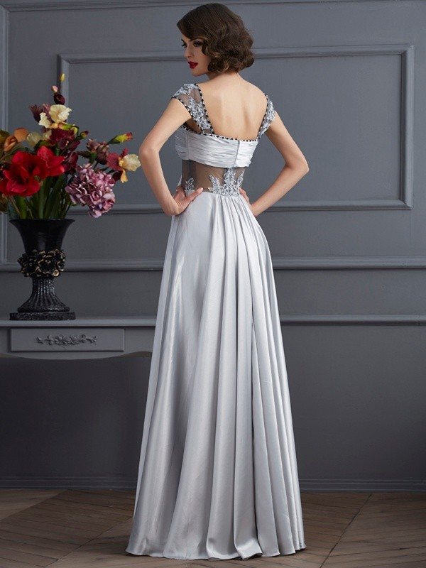 A-Line/Princess Off the Shoulder Long Elastic Woven Satin Dress