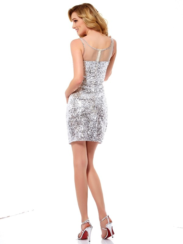Sheath/Column Scoop Lace Short Sequins Cocktail Dress