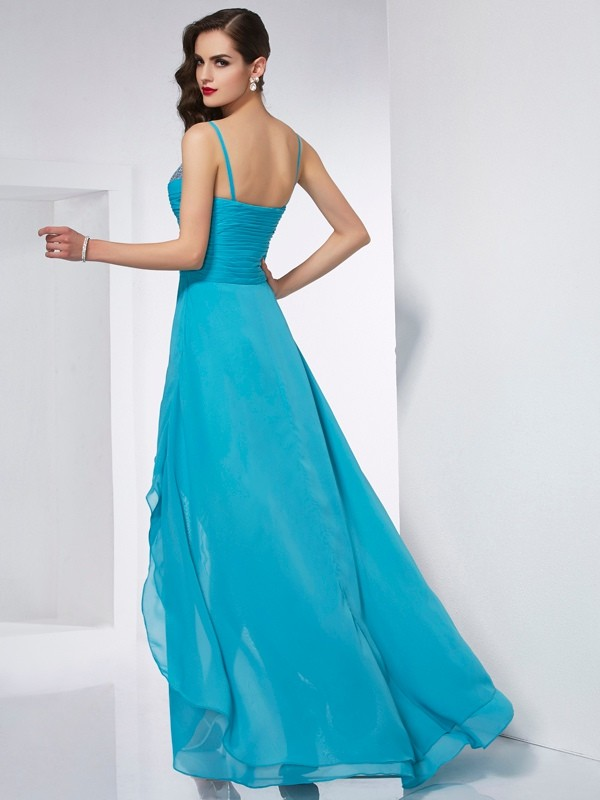 A-Line/Princess Spaghetti Straps Asymmetrical Chiffon Dress