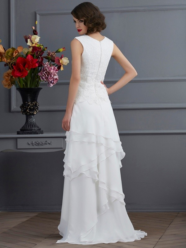 Sheath/Column Bateau Lace Asymmetrical Chiffon Mother of the Bride Dress