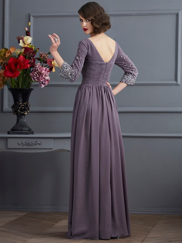 Sheath/Column V-neck 3/4 Sleeves Long Chiffon Mother of the Bride Dress