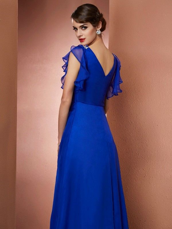 A-Line/Princess V-neck Asymmetrical Chiffon Dress