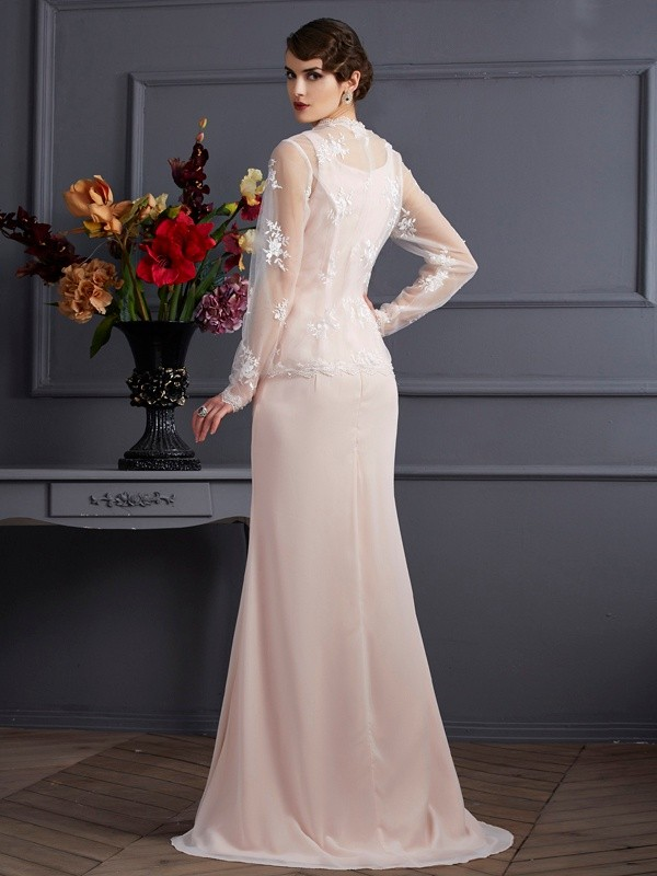 Sheath/Column Square Long Chiffon Mother of the Bride Dress