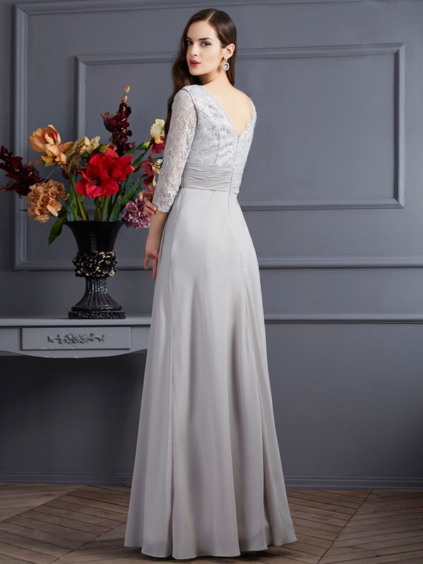 A-Line/Princess V-neck 3/4 Sleeves Long Chiffon Mother of the Bride Dress