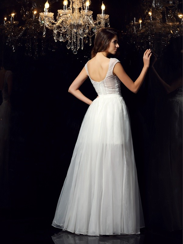 A-Line/Princess Scoop Short Sleeves Long Tulle Dress