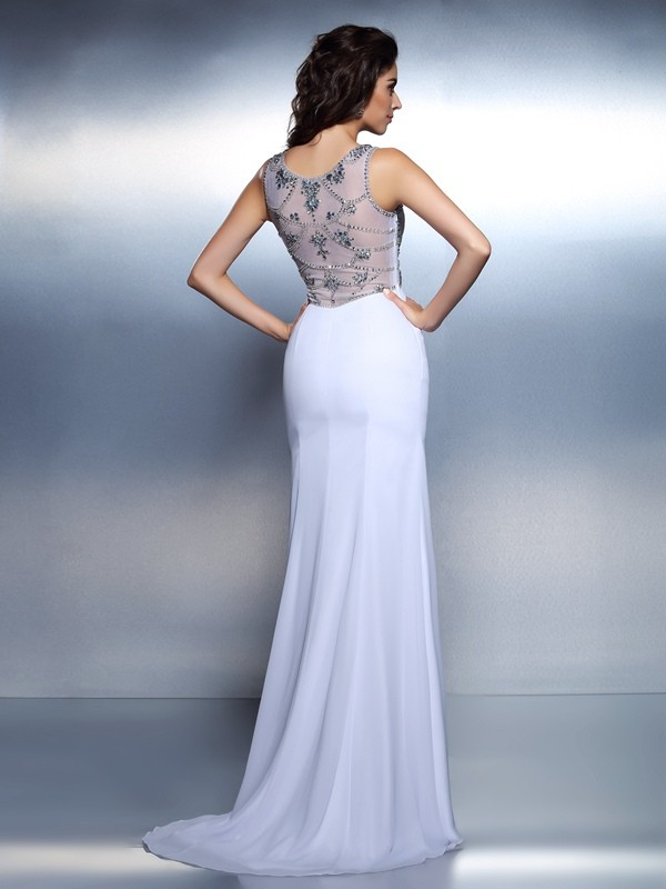 Mermaid Bateau Long Chiffon Dress