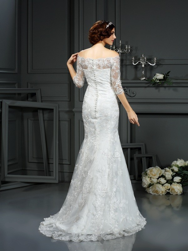 Sheath/Column Off-the-Shoulder Lace 1/2 Sleeves Long Lace Wedding Dress