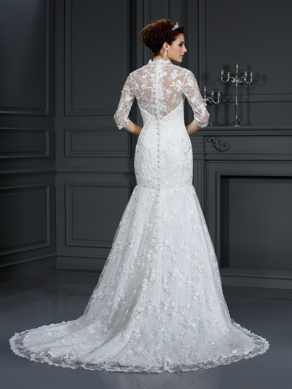 Mermaid V-neck Lace 1/2 Sleeves Long Lace Wedding Dress