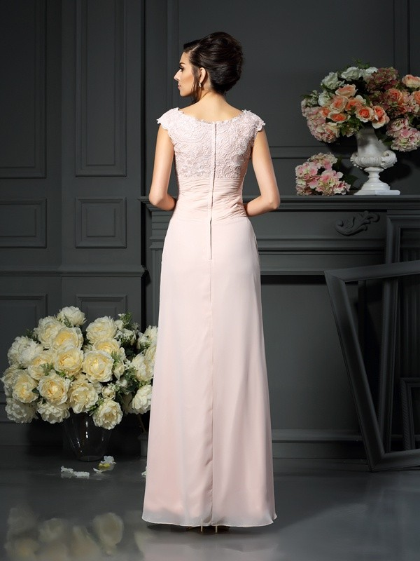 A-Line/Princess Scoop Lace Long Chiffon Mother of the Bride Dress