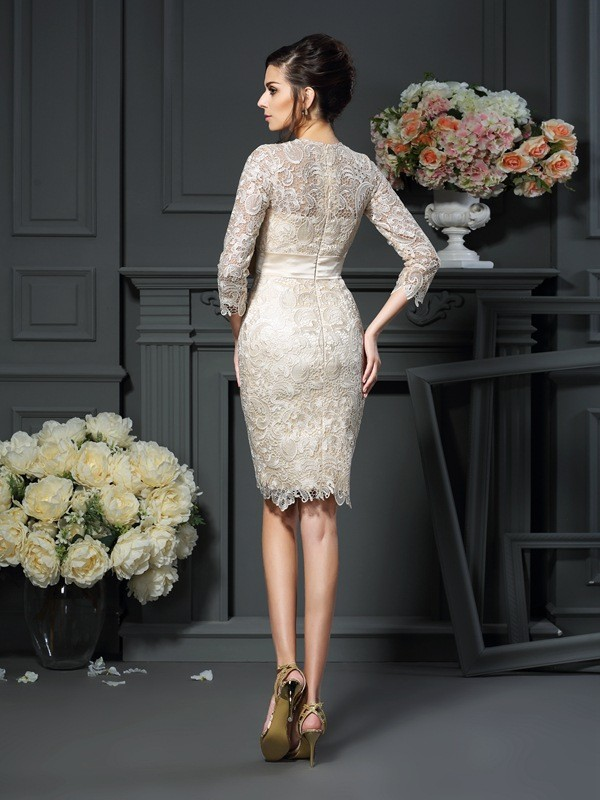 Sheath/Column Scoop 3/4 Sleeves Short Lace Mother of the Bride Dress