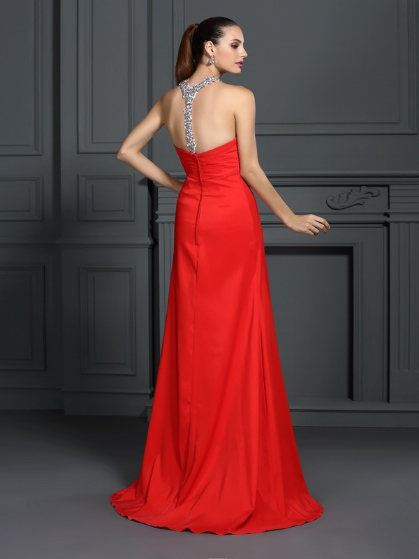 A-Line/Princess High Neck Long Elastic Woven Satin Dress