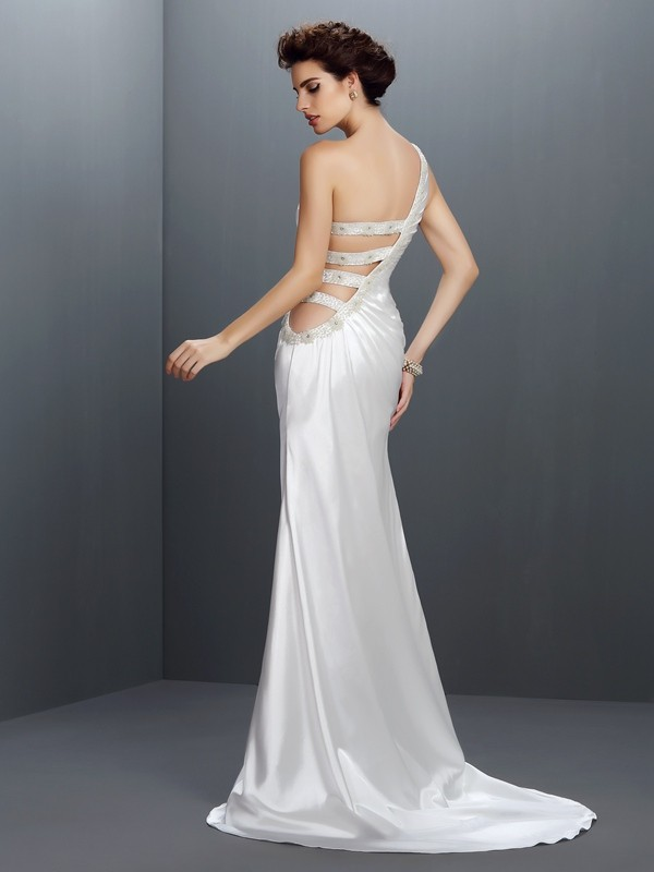 Mermaid One-Shoulder Long Elastic Woven Satin Dress