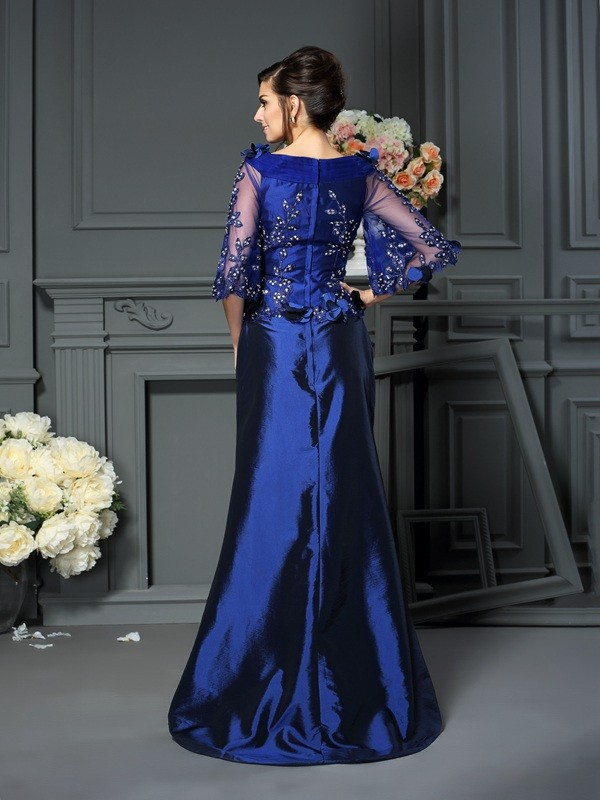 A-Line/Princess Scoop 1/2 Sleeves Long Taffeta Mother of the Bride Dress