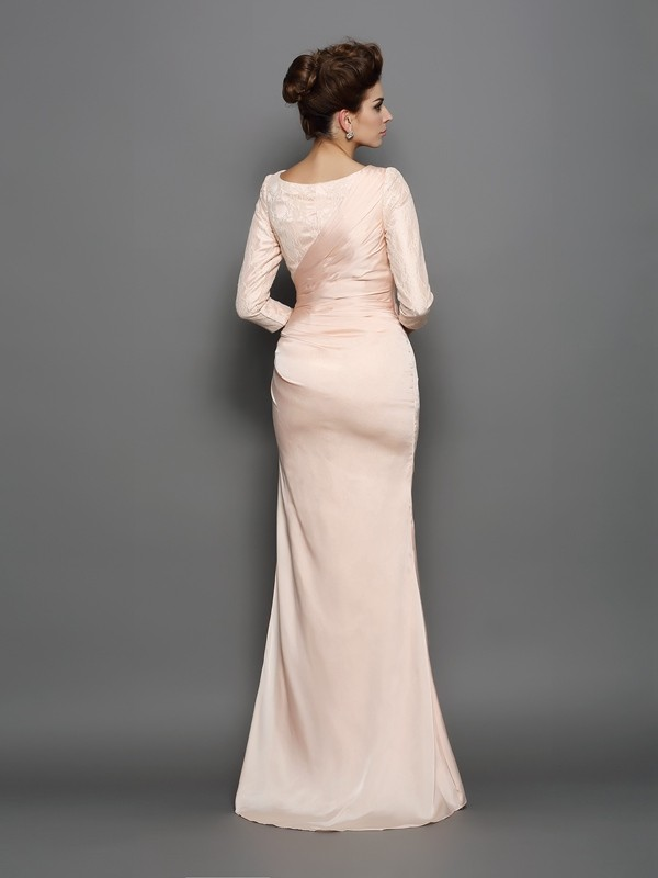 Mermaid Bateau Lace 3/4 Sleeves Long Chiffon Mother of the Bride Dress