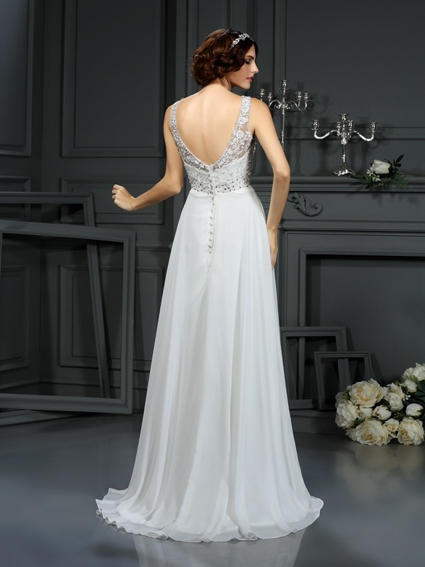 A-Line/Princess V-neck Lace Long Chiffon Wedding Dress