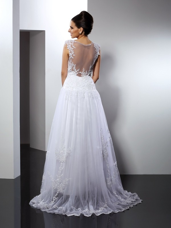 A-Line/Princess Straps Long Lace Wedding Dress