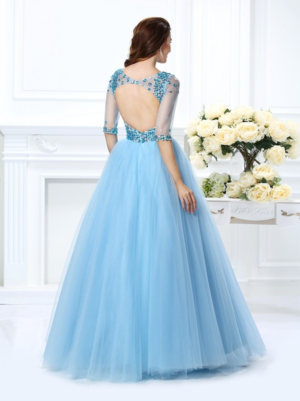 Ball Gown V-neck 1/2 Sleeves Long Satin Quinceanera Dress