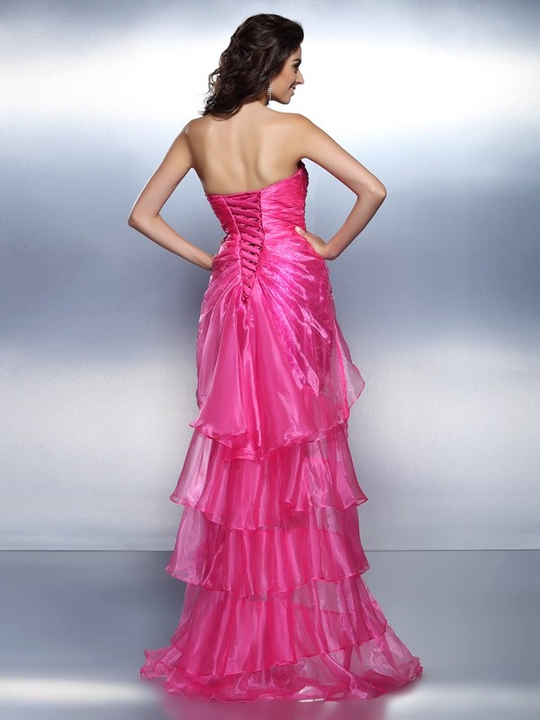 Sheath/Column Sweetheart Asymmetrical Organza Cocktail Dress