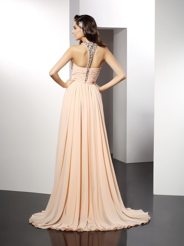A-Line/Princess Jewel Long Chiffon Dress