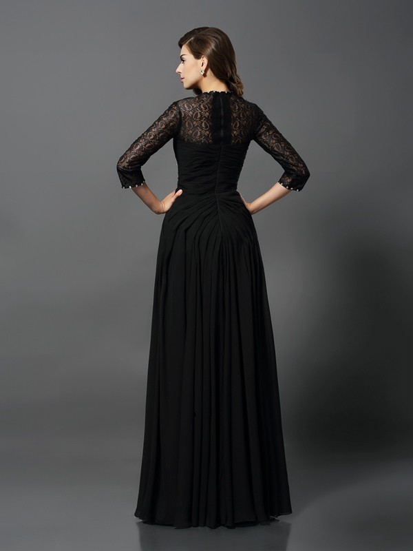 A-Line/Princess Bateau 3/4 Sleeves Long Lace Dress