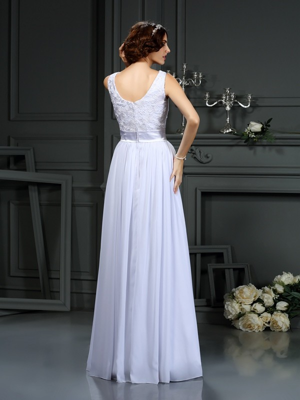 A-Line/Princess Scoop Lace Long Chiffon Wedding Dress