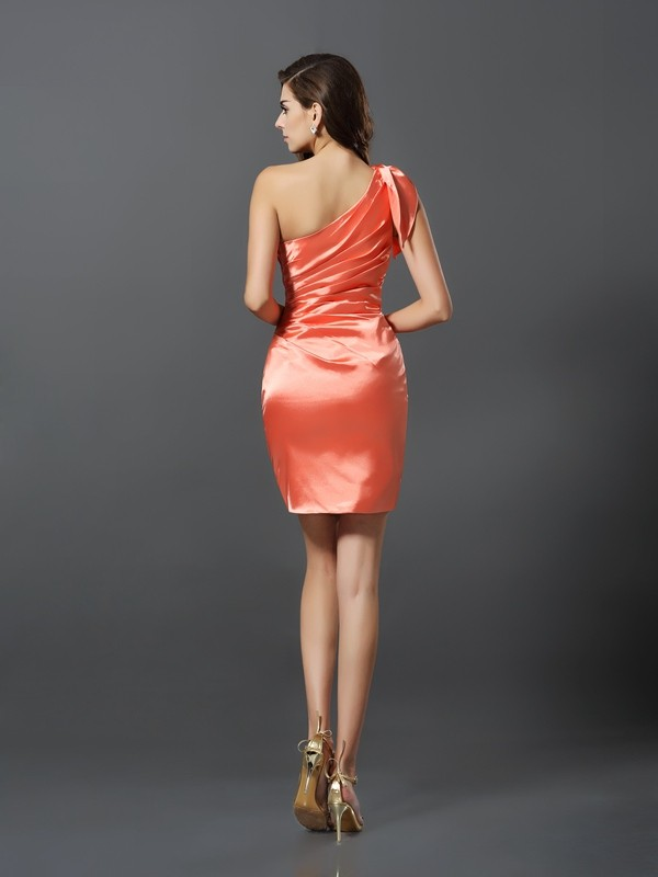 Sheath/Column One-Shoulder Short Elastic Woven Satin Bridesmaid Dress