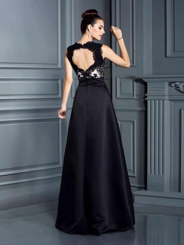 A-Line/Princess Straps Lace Long Satin Dress