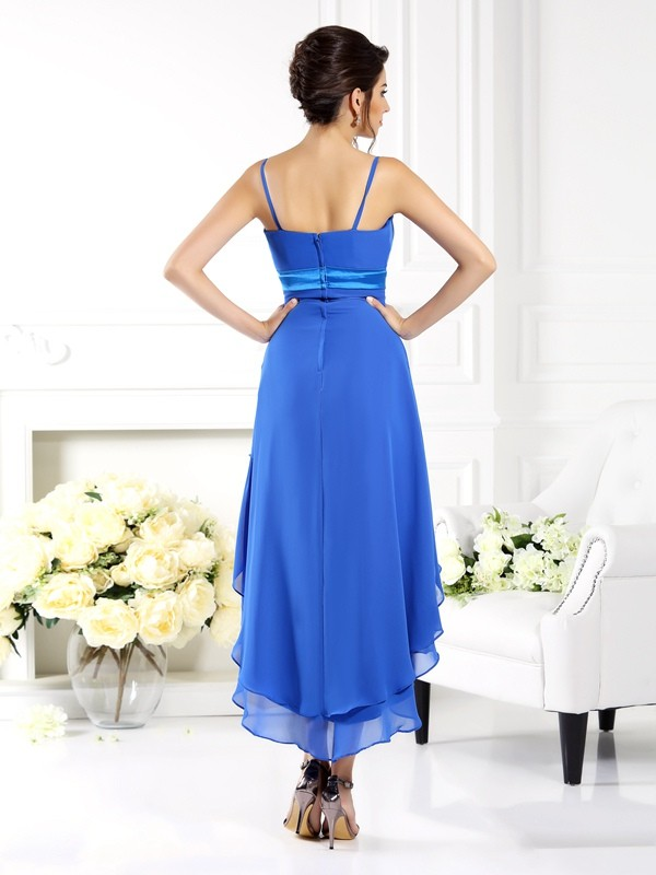 A-Line/Princess Spaghetti Straps Asymmetrical Chiffon Bridesmaid Dress