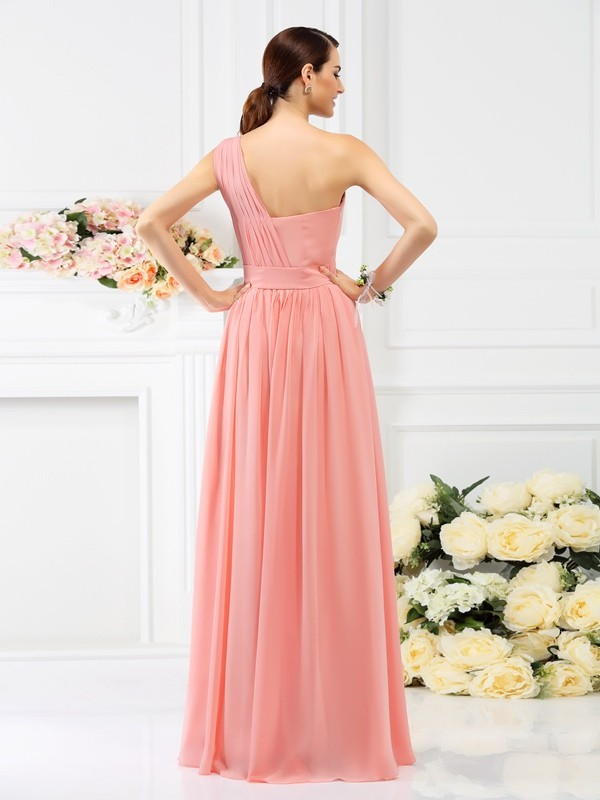 A-Line/Princess One-Shoulder Long Chiffon Bridesmaid Dress