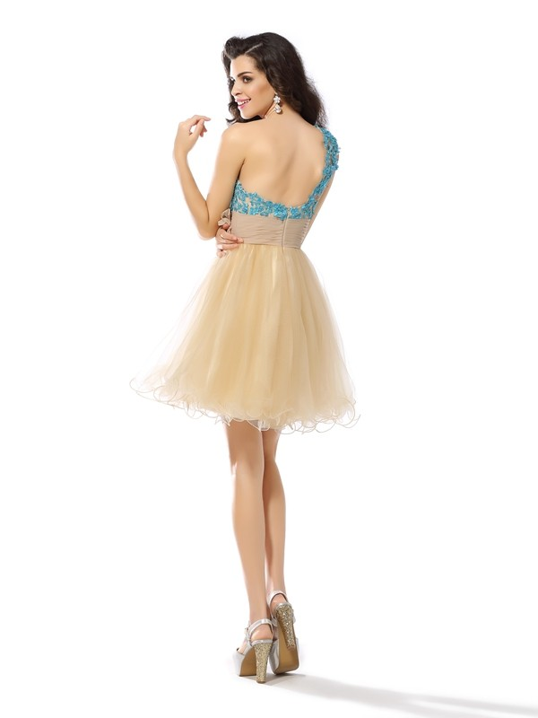 A-Line/Princess One-Shoulder Short Net Cocktail Dress