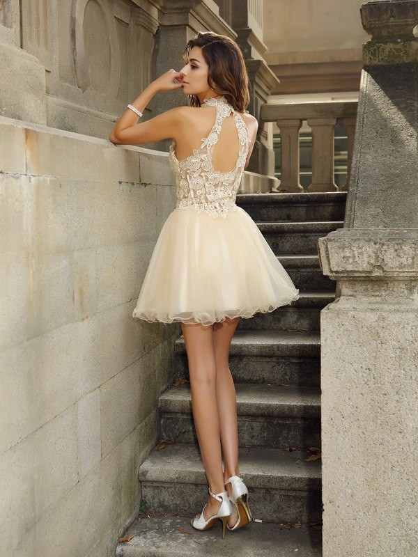 A-Line/Princess High Neck Short Tulle Cocktail Dress
