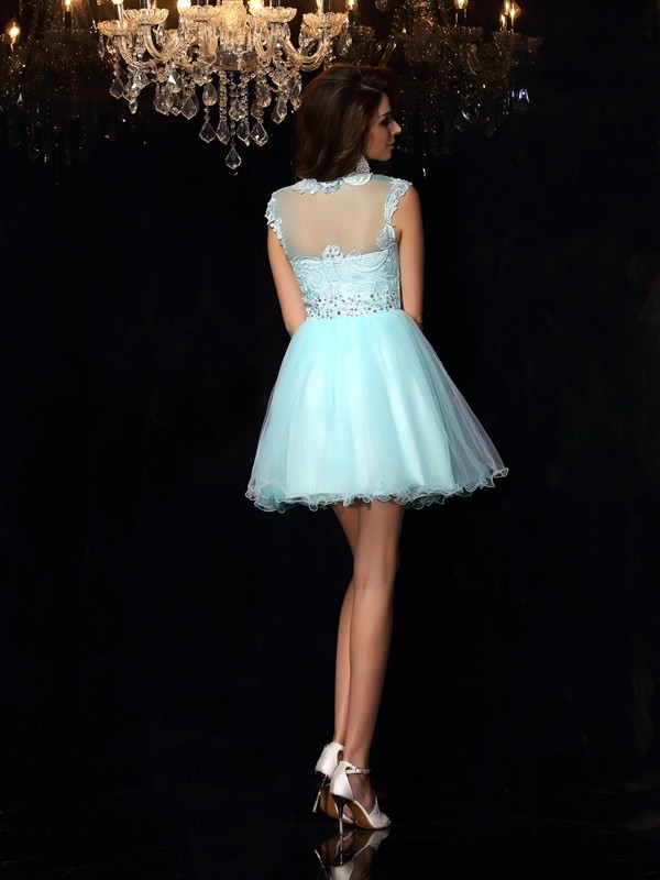 A-Line/Princess High Neck Short Elastic Woven Satin Dress