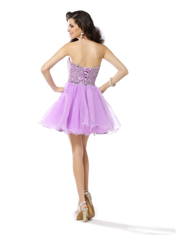 A-Line/Princess Sweetheart Short Organza Cocktail Dress