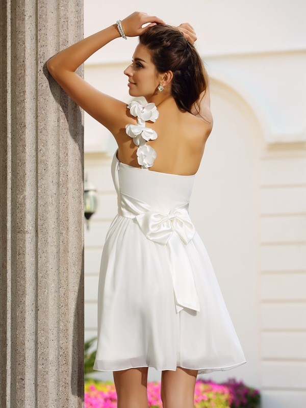A-Line/Princess One-Shoulder Short Chiffon Cocktail Dress