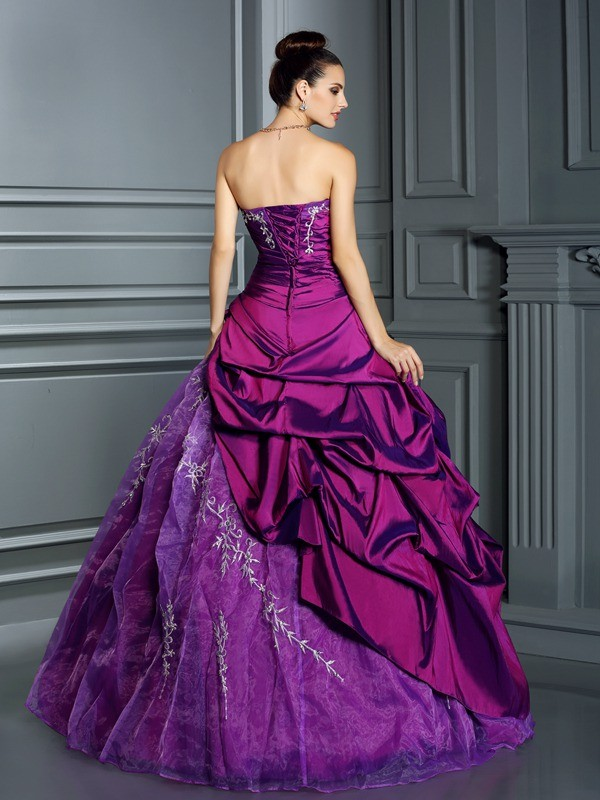 Ball Gown Strapless Long Taffeta Quinceanera Dress