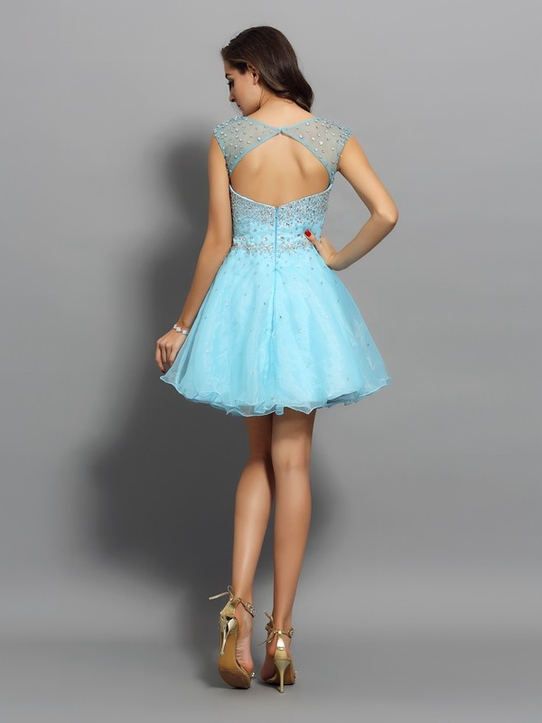 A-Line/Princess Scoop Short Organza Cocktail Dress