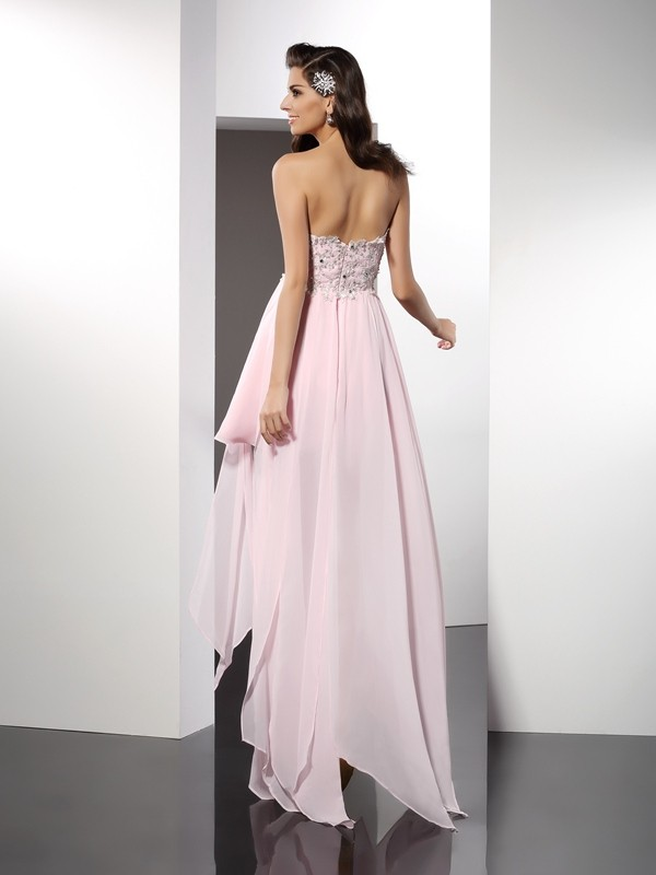 A-Line/Princess Sweetheart Asymmetrical Chiffon Cocktail Dress