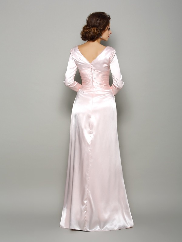 A-Line/Princess V-neck Long Sleeves Long Silk like Satin Mother of the Bride Dress