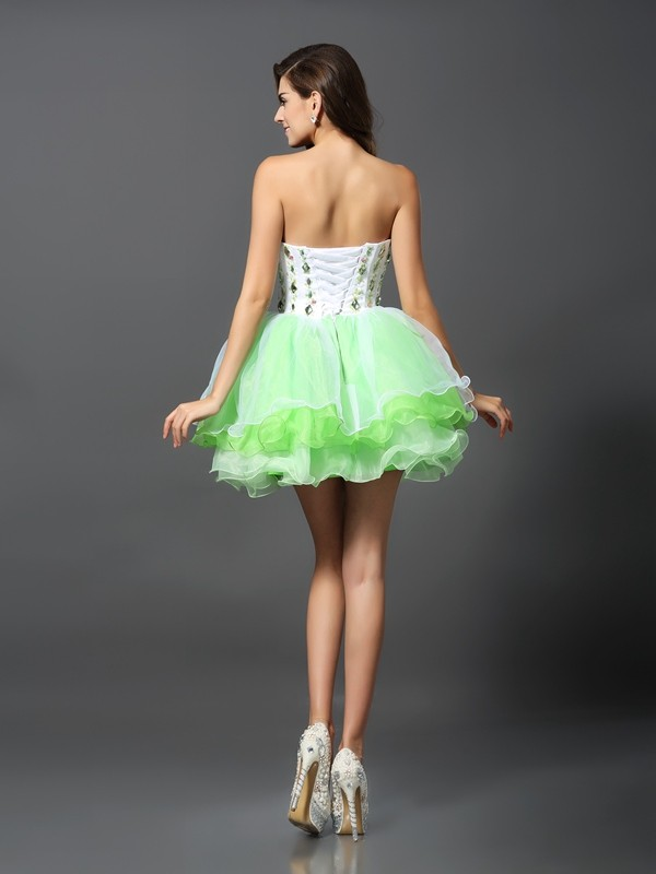 A-Line/Princess Strapless Short Organza Cocktail Dress