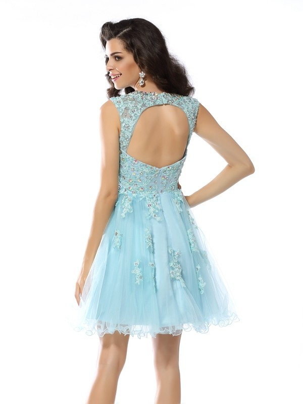 A-Line/Princess Scoop Short Satin Cocktail Dress