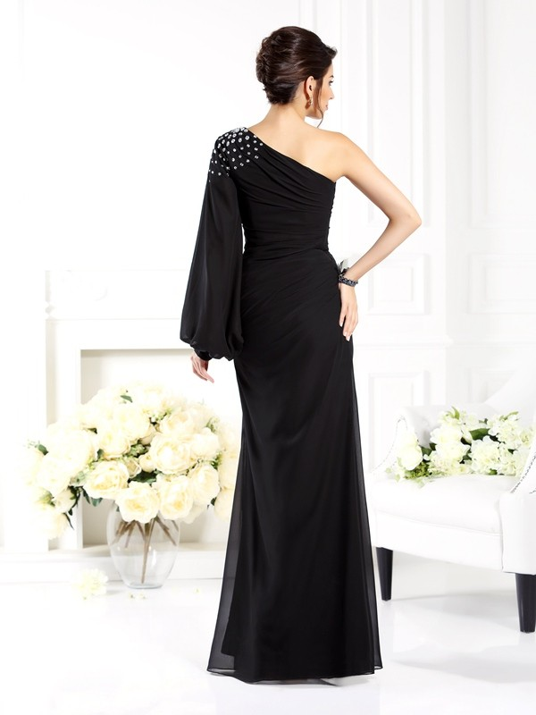 Sheath/Column One-Shoulder Long Sleeves Long Chiffon Mother of the Bride Dress