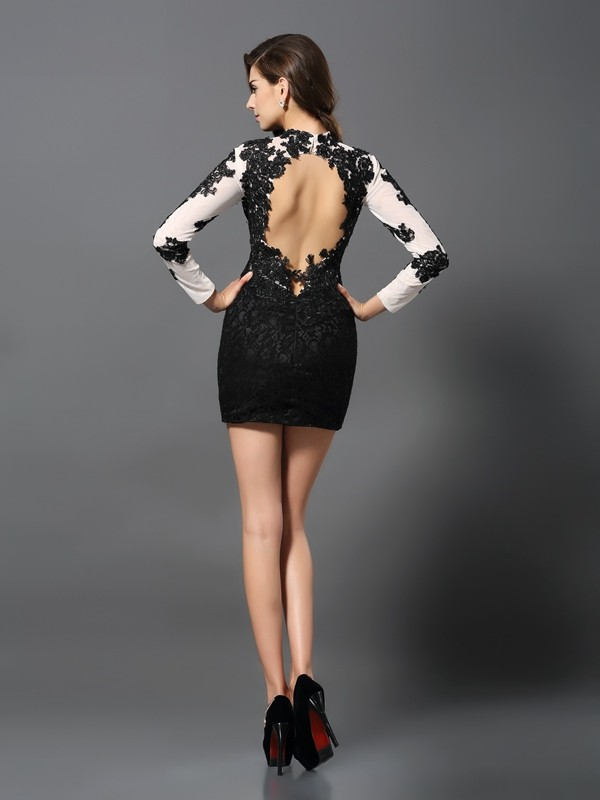 Sheath/Column High Neck Long Sleeves Short Lace Cocktail Dress