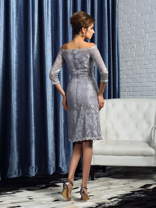 Sheath/Column Off-the-Shoulder Lace 1/2 Sleeves Short Satin Mother of the Bride Dress
