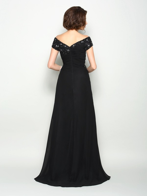 A-Line/Princess Off-the-Shoulder Short Sleeves Long Chiffon Mother of the Bride Dress