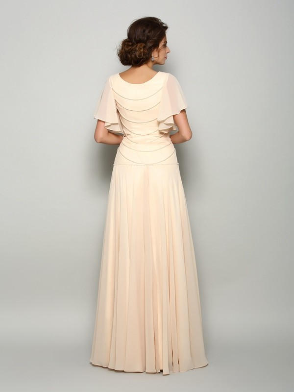A-Line/Princess Square Short Sleeves Long Chiffon Mother of the Bride Dress