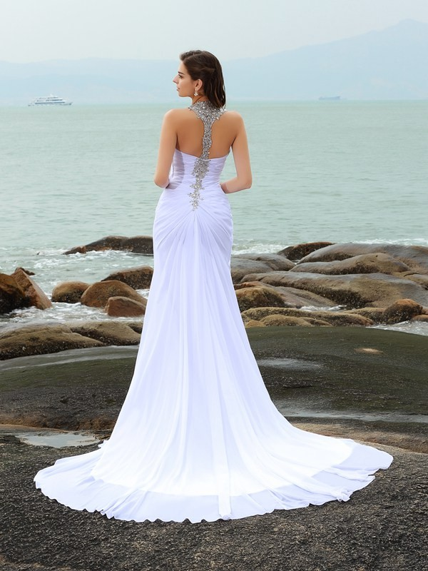 Sheath/Column Straps Long Chiffon Beach Wedding Dress