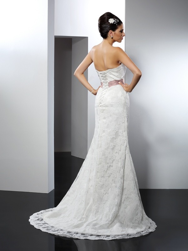 Mermaid Strapless Lace Long Lace Wedding Dress