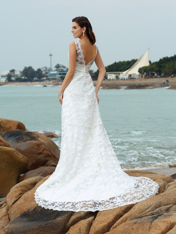 A-Line/Princess Straps Long Satin Beach Wedding Dress