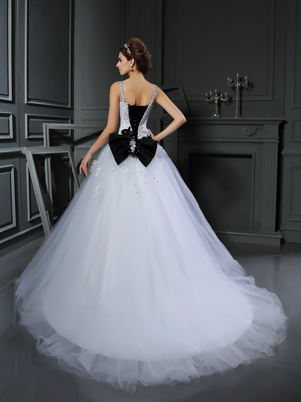 Ball Gown Straps Long Tulle Wedding Dress